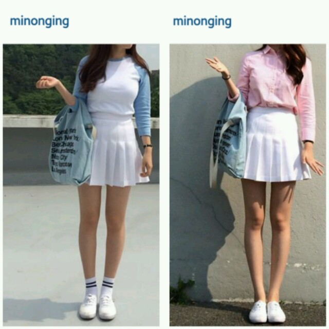 One of American Apparel lover on Instagram: @/minonging, combined white tennis skirt with 3/4 sleeve raglan and pink long-sleeve shirt.