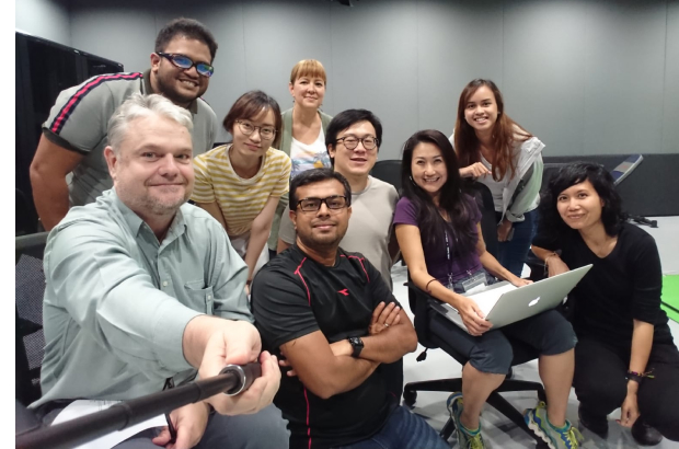 At our first production meeting! From Left: Lach Madsen, Bob Hafiz, Stella Amanda, Noël Baris, Gani Mohamed, Ung Ruey Loon, me, Afiqa Anzari, Haryati Mahmood. Team members missing in the picture: Stefany Wang, Gerald Fran, and Tan Chee Hong