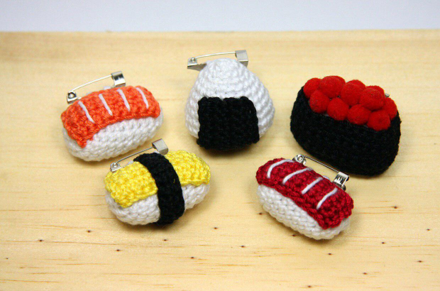 Samples of the sushi crochet pieces that Ros has made.