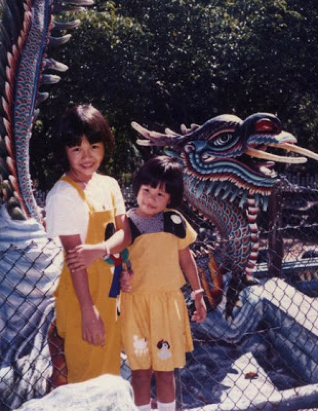 My sister and I at Haw Par Villa 