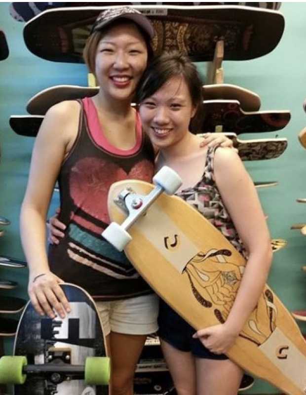 Longboard shopping with my sis.