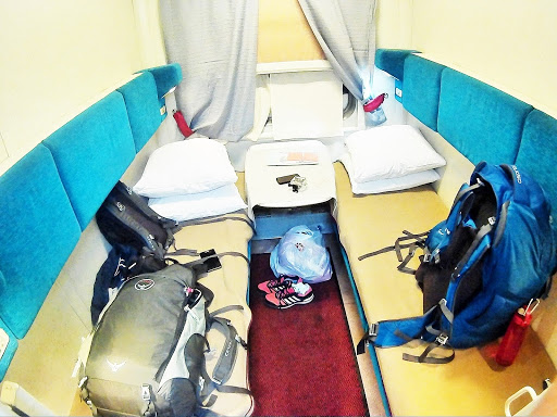 Our private first-class cabin and backpacks.