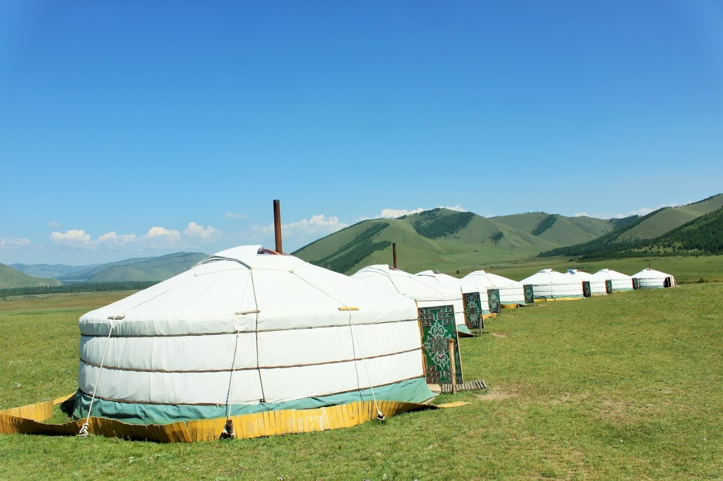 Our ger tent in the middle of the Mongolian steppes.