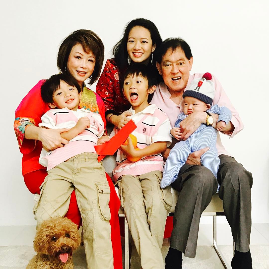 Three generations in a picture: my parents, sons and I during Chinese New Year.