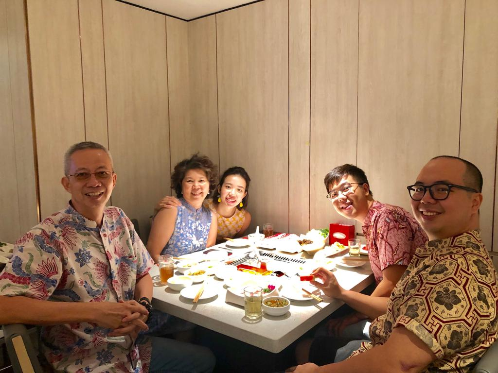 Family dinner — with everyone wearing batik!