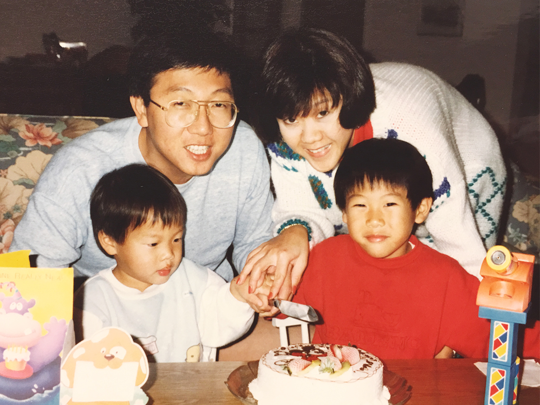 Celebrating my son's birthday in 1991.