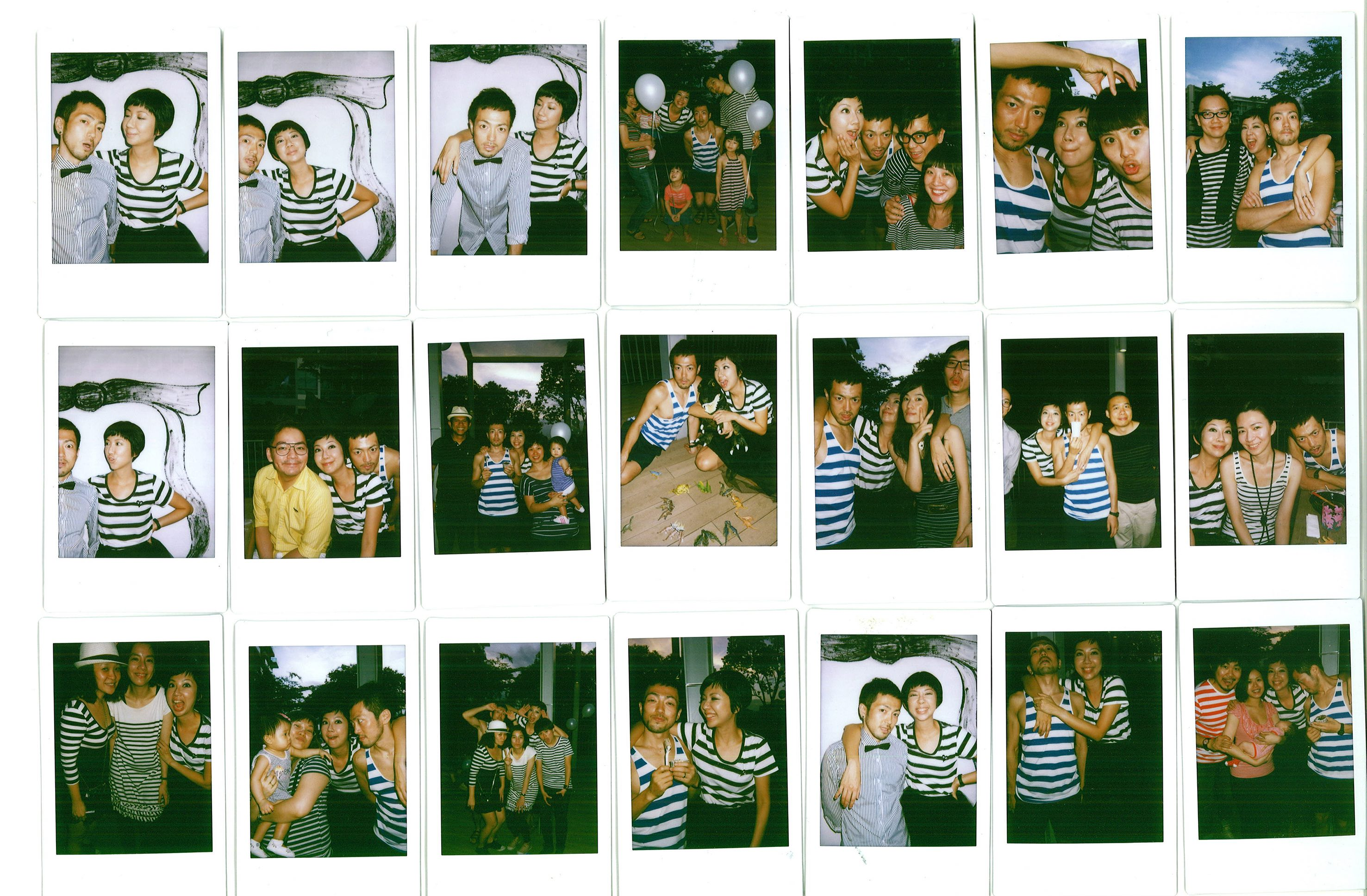 Polaroids of us and our wedding guests. The dress code was stripes, because I love striped clothing!