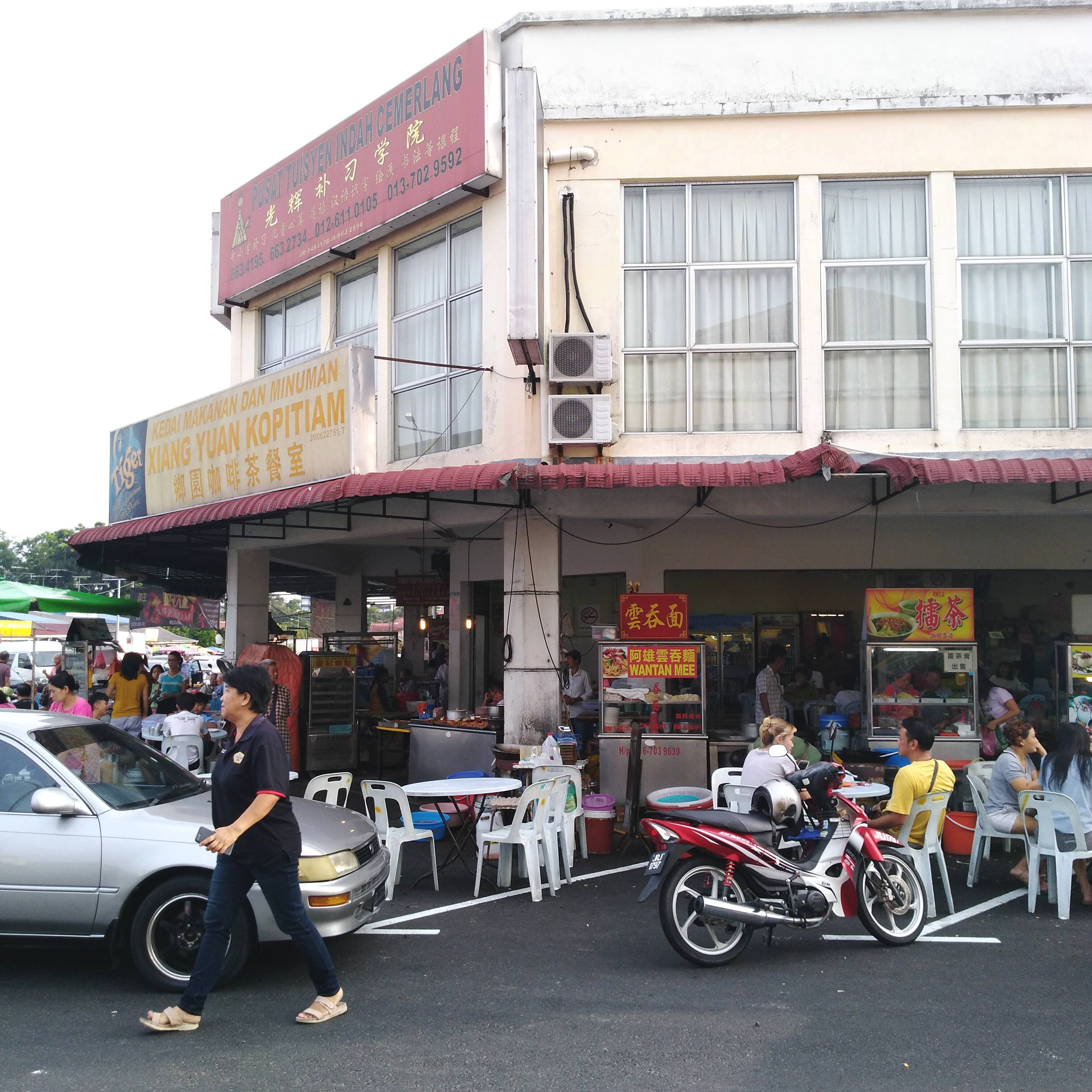 A busy kopitiam in the Chinese market, a short walk from my home.