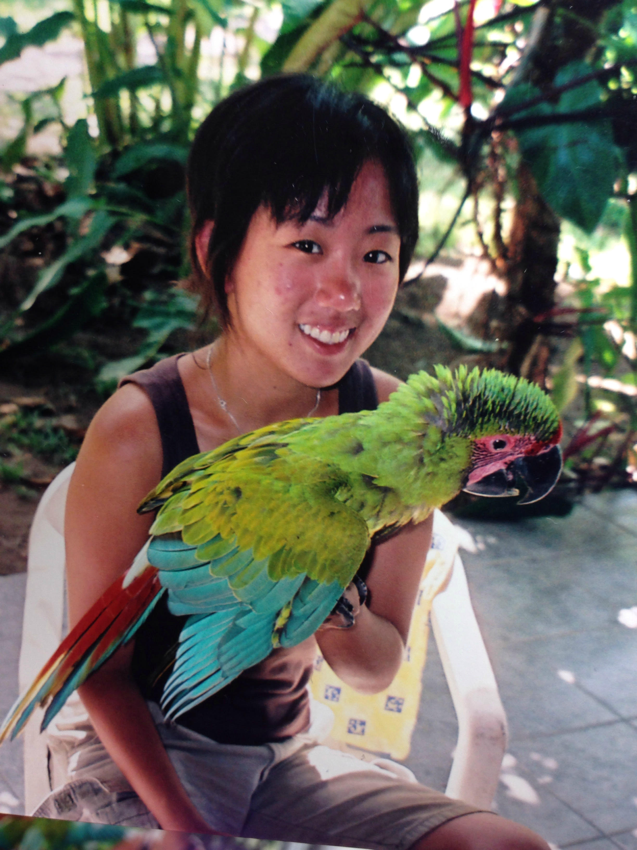 With a local macaw in Costa Rica.