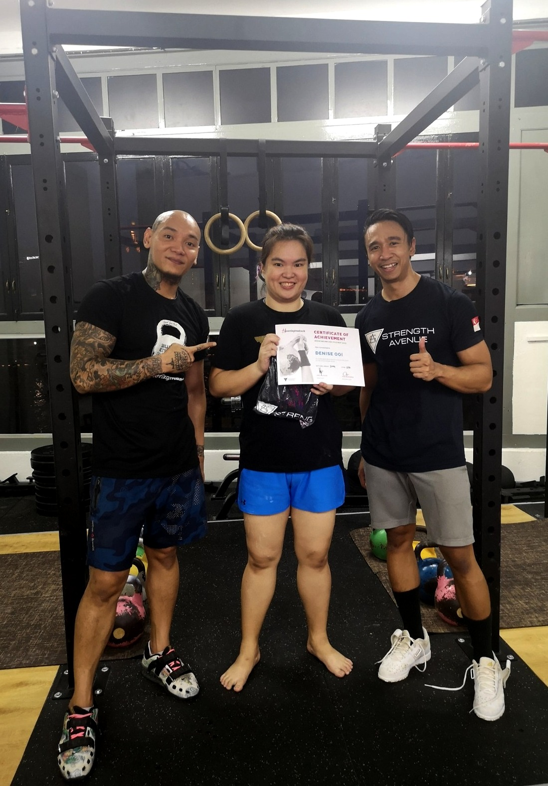 Receiving my kettlebell novice meet participation certificate was one of my proudest moments last year. This was taken with my kettlebell coaches, Andyn and Pen.
