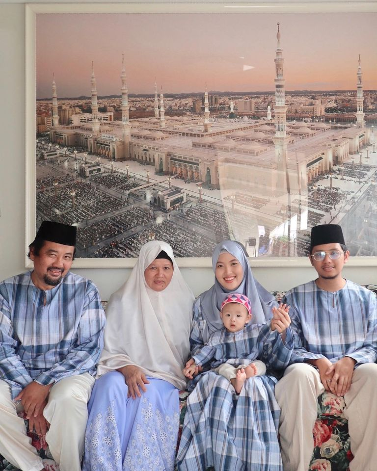 Celebrating the first day of Eid this year with my parents, husband and son.