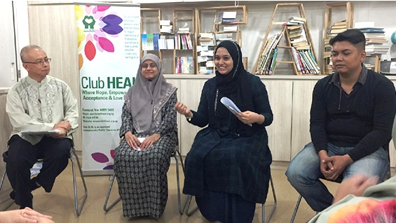At a panel discussion (third from left) with Dr Radiah (second from left) for Club Heal in 2017.