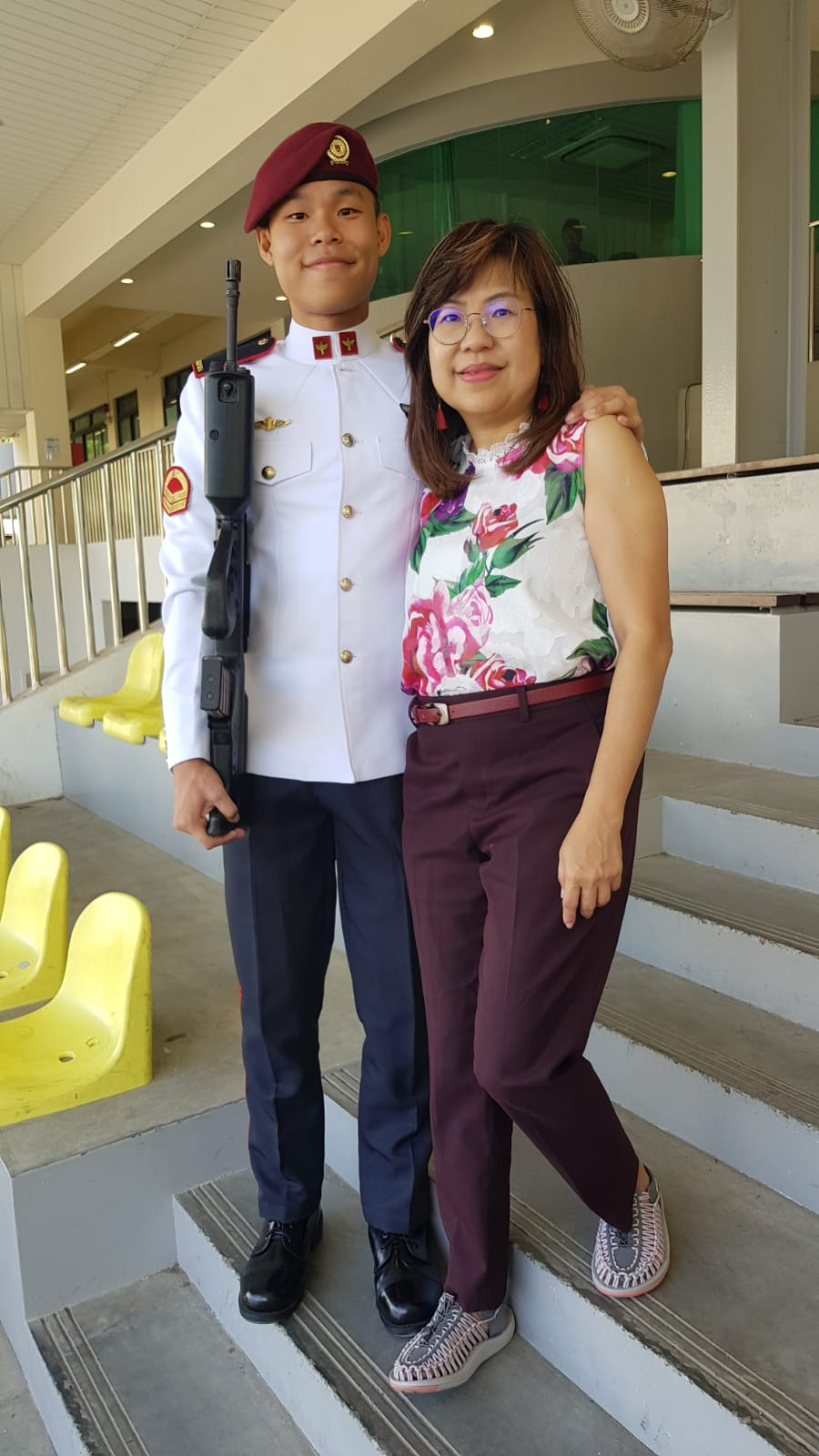 My son and I at his passing-out ceremony after National Service.