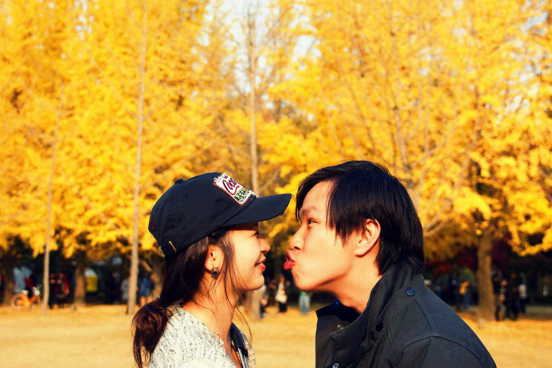 Eugene and I at a park in Seoul during autumn.