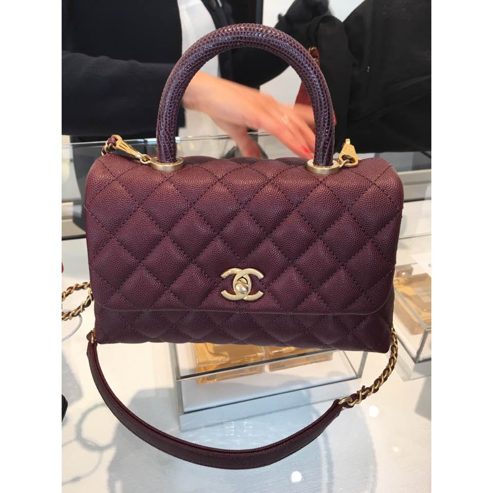 c8a876921de6 Coco handle mini in burgundy with lizard handle and gold hardware.  chanel
