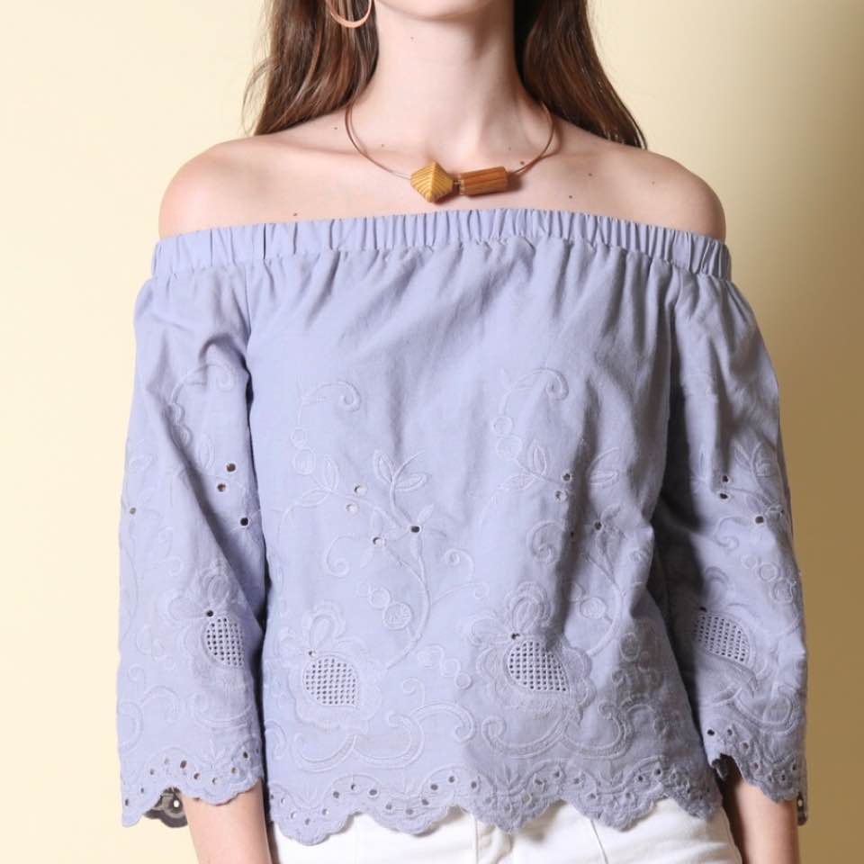 799d56e2e5a952 #TSW Noleen Off Shoulder Top in Lilac Grey $20 (RTP $33.90) brand new but  washed! tagged size S