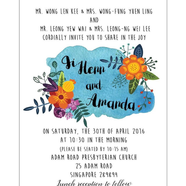 Wedding invitations amaandas dayre with our design done we went to jb to have this printed was very happy with this design and am glad that watercolor is incorporated in our invites stopboris Choice Image