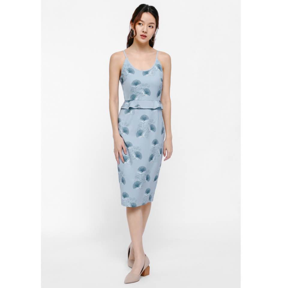 76b76d60c45 #lovebonito mireya printed peplum dress - size XS - worn once, no defects