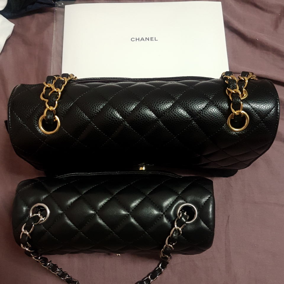 e5cf04e295cb My  Chanel mini flap and medium classic flap side by side in comparison.