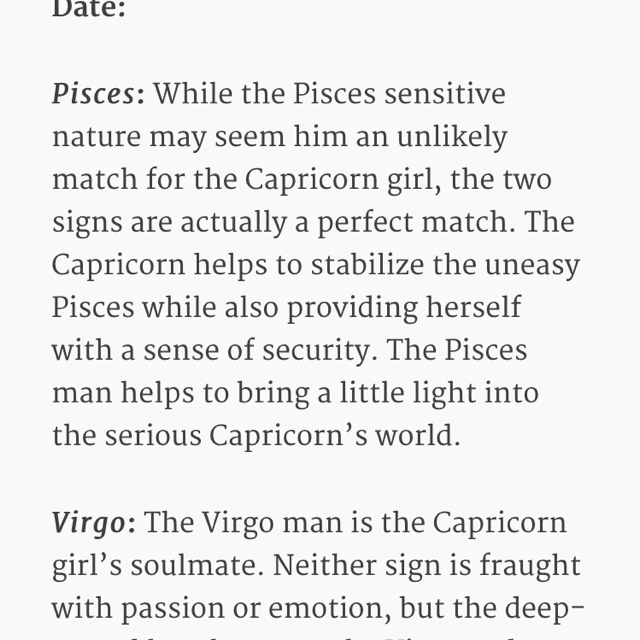 Pisces dating capricorn man, congolese cock