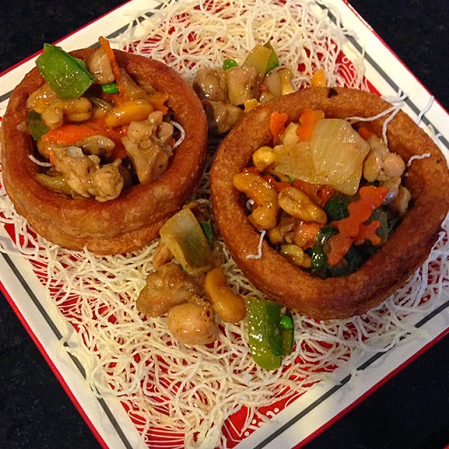 Deep fried yam ring served with stir fry chicken and vegetables deep fried yam ring served with stir fry chicken and vegetables recipe coasterkitchen dayre forumfinder Image collections
