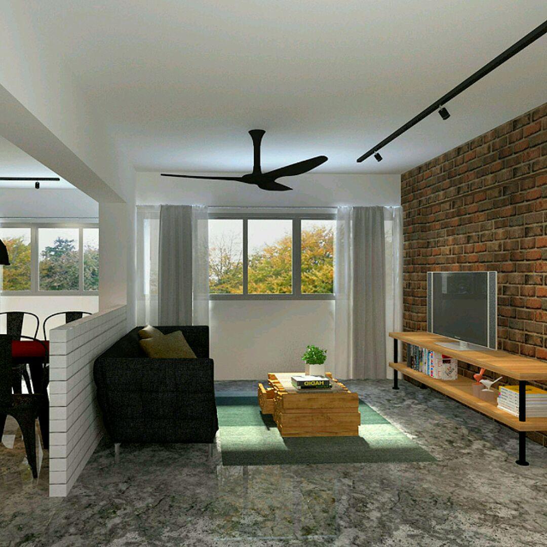 Half Brick Wall Living Room: Scatterbrainz