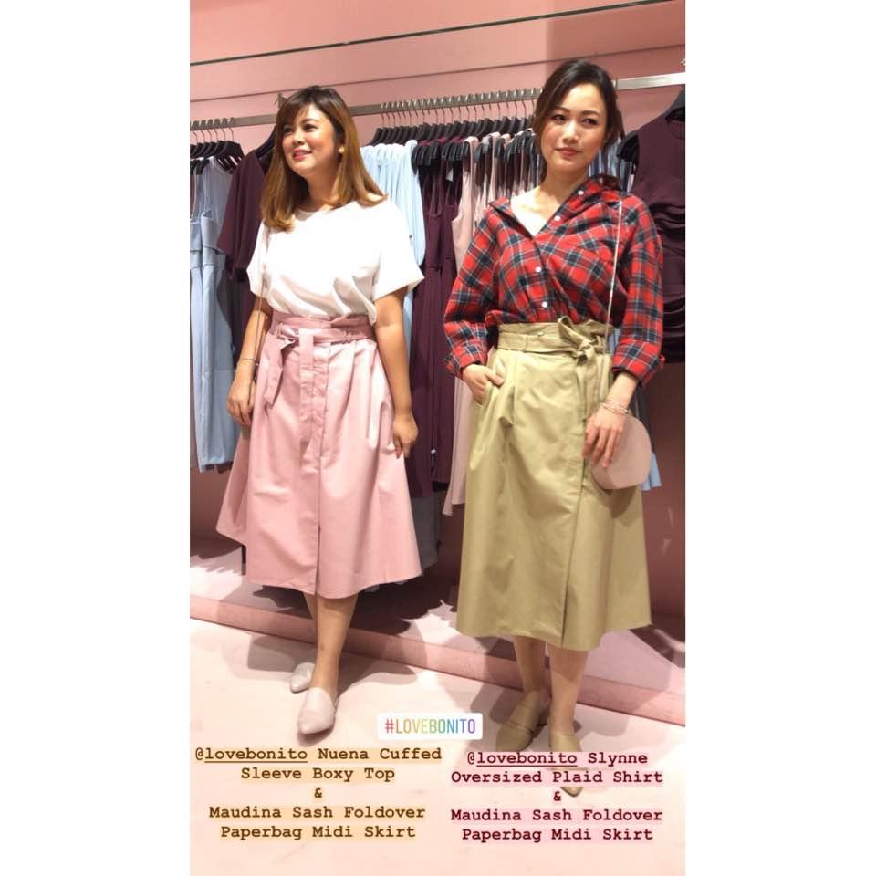 ebf5e1af4c On N 👚: Tyomma Button Shoulder Flutter Sleeve Top 👖: Maudina Sash  Foldover Paperbag Midi Skirt