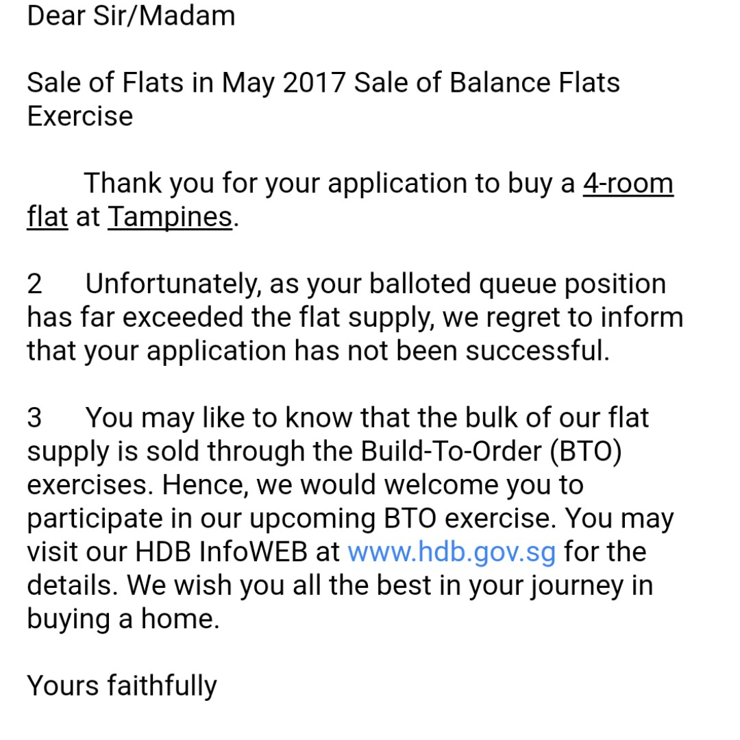Hdb sales of balance - We Didn T Get A Queue No For The May Sales Of Balance We Weren T Very Disappointed Because The Odds Were High And It S Mainly The Low Floor Units Left