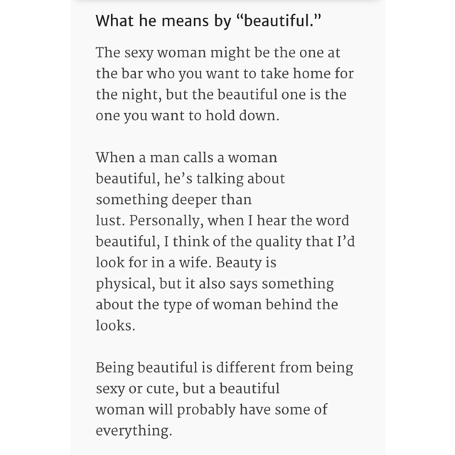 what does beautiful mean to a guy