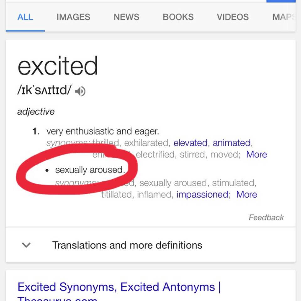 Synonym for sexually excited