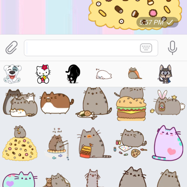 Uploaded a new sticker collection for Pusheen!!!!! I can finally make my  own conversations more exciting omg all the food HAHAHAH